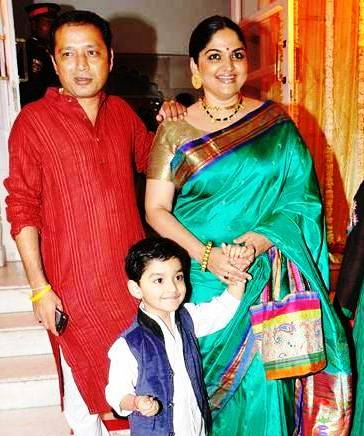 Indira Krishnan with her husband and child